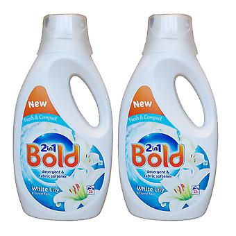 2 x 1300ml Bold 2in1 Biological Laundry Washing Liquid Fabric Softener 26 Washes