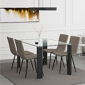 Nathaniel/Jacob 5Pc Dining Set - Black Table/Grey Chair