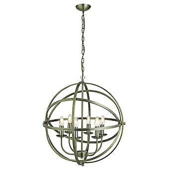 Searchlight Orbit - 6 vaalea pallomainen häkkikatto riipus antiikki messinki, E14