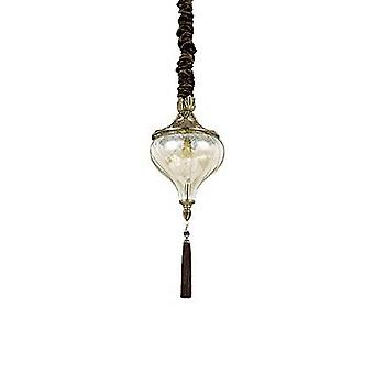 1 Light Ceiling Pendant Antique Brass, Amber, Glass, E27