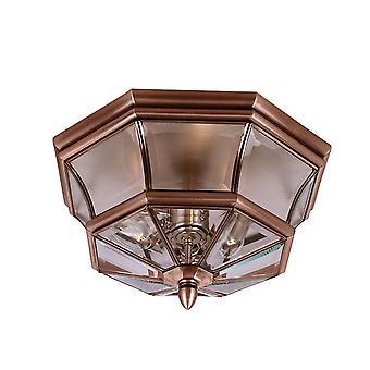 3 Light Flush Mount - Aged Copper, E14