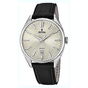 Festina Watch for Analog Quartz Men with Cowhide Bracelet F16977/3