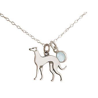 GEMSHINE kjede greyhound CHALCEDON anheng 925 sølv, gullbelagt eller rose