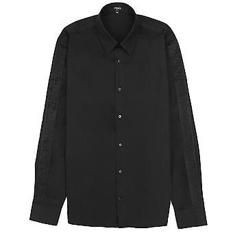 Fendi Embossed Jacquard FF Logo camisa preta