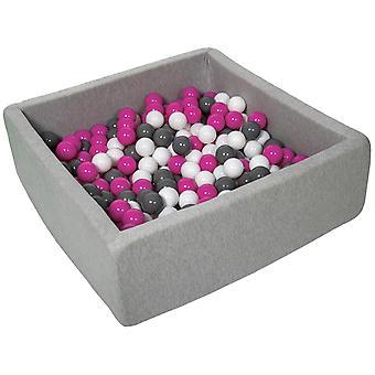 Pozo de bola cuadrada 90x90 cm con 300 bolas blancas, púrpura y gris