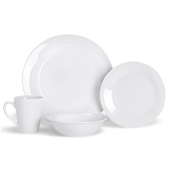 16 Piece White Dinnerware Set - Classic Porcelain Dinner Plates Side Plates Cereal Bowls Coffee Mugs