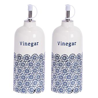 Nicola Spring 2 Piece Hand-Printed Vinegar Bottle with Pourer Set - Porcelain with Stainless Steel Spout - Navy - 500ml
