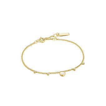 Ania Haie Hidden Gem Shiny Gold Mother Of Pearl Drop Disc Bracelet B022-03G