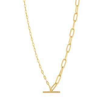 Ania Haie Kette Reaktion glänzend Gold gemischt Link T-Bar Halskette N021-02G
