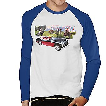 Austin Healey Background Of Sport Horses British Motor Heritage Men's Baseball Long Sleeved T-Shirt