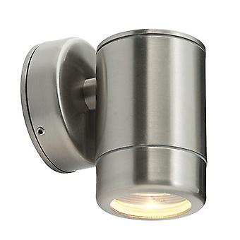 Saxby Lighting Odyssey - Outdoor Wall Lamp IP65 7W Geborsteld roestvrij staal en helder glas 1 licht dimbare IP65 - GU10