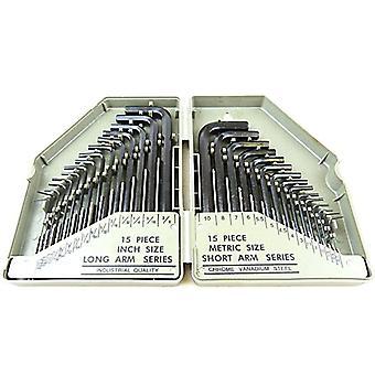 Hyfive 30pcs allen wrench set, hex key set with 15pcs black-oxide finish 0.028