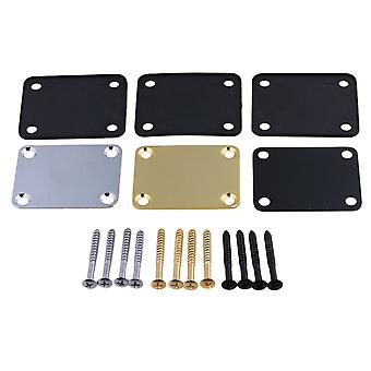 48mmx38mm Golden+Black+Chrome Electric Guitar Neck Plate Set of 3