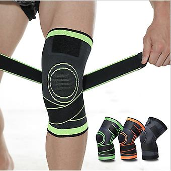 Adjustable Bandage Sports Kneepad Men Pressurized Elastic Knee Pads Support Fitness Gear Basketball Volleyball Brace Protector