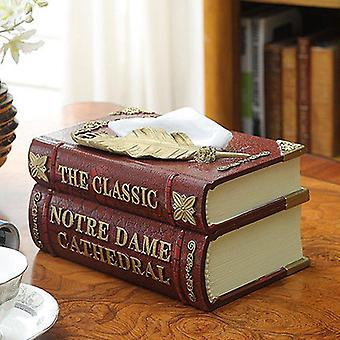 Double Layer Resin Classic Book Tissue Box