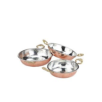 3 Pcs Set Handmade Copper Pan Egg Pan Omelette Tava Sahan