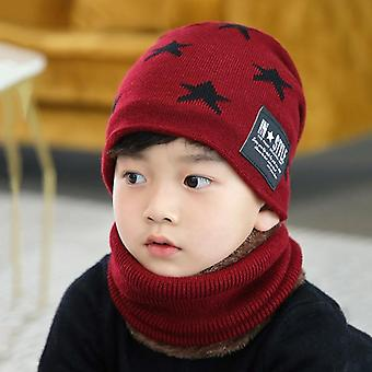 Children's Winter Wool Hat, Neck Cover, Thickened Warm Knitted's Cap, Scarf Set