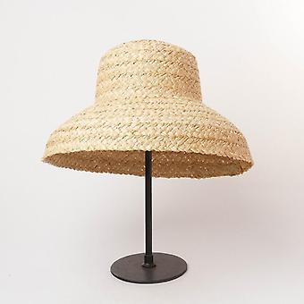 Women Retro Flat Drooping Brim Handmade Raffia Straw Hat For Sun Protection