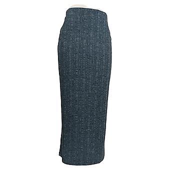 Lisa Rinna Collectie Rok Pull-On Geribbelde Gebreide Maxi Blue A294199
