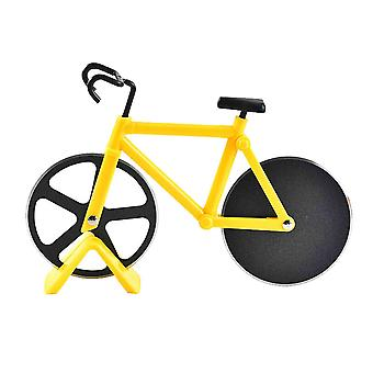 Pizza Cutting Tool Pizza Slicer Two-Wheeled Bicycle Shape Pastry Cutter Yellow