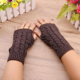 Winter Arm Gloves Long Half Knitted Sleeves Riding Mittens