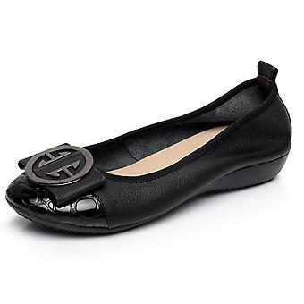 Genuine Leather Ballet Flat Shoes With Women's Slip-on Soft Metal Decoration