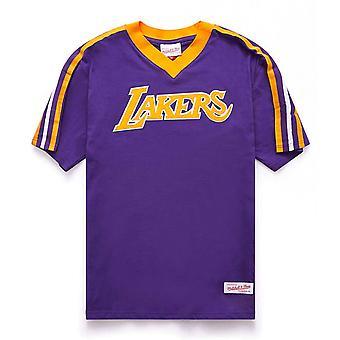 Mitchell & Ness LA Lakers Overtime Win V Neck T-Shirt Purple Tee VNECAJ18003 LAL