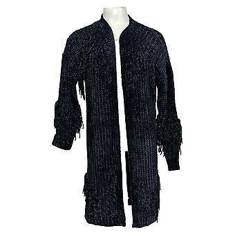 G.I.L.I. Got It Love It Women's Sweater Cardigan Fringe Open Blue A370664
