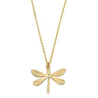 """14K Gelb Gold Libelle Anhänger Halskette, 18"""""""