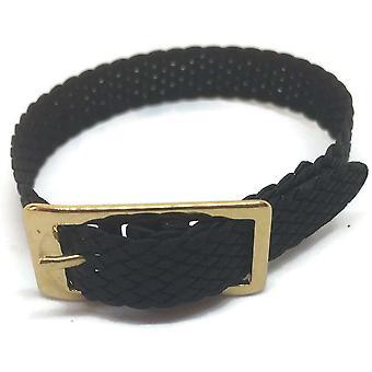 Correa de reloj de nylon trenzada en negro con hebilla chapada en oro tamaño 10mm