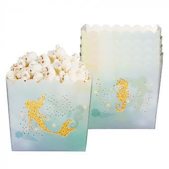 Feestbakjes Zeemeermin Meisjes / Junior 40 Cl Papier Goud / Blauw 6 Stuks