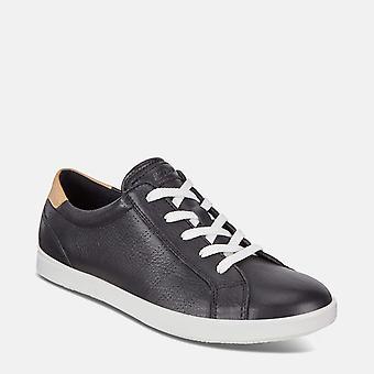 Leisure 205033 50263 black powder -  ecco black soft leather ladies trainers
