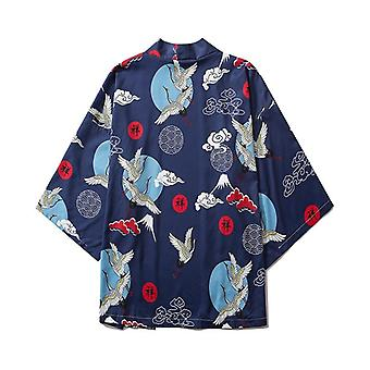 Clothes  Summer Streetwear Cat Print Kimono Cardigan Mandarin Robe Men Unisex