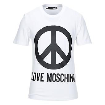 Love Moschino Large Brand Peace Logo T-Shirt Bianca