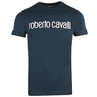 Roberto Cavalli Logo Navy Sininen T-paita