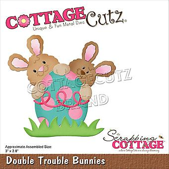 "CottageCutz Dies-Double Trouble Bunnies 3""X2.8"""