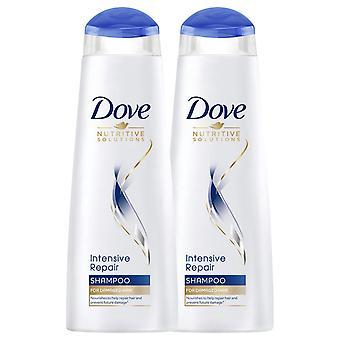 2pk van 250ml Dove Voedingsoplossingen voor beschadigde haarintensieve reparatieshampoo