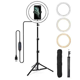Selfie Flash Dimmable 10'' LED Ring Light With Tripod Stand Phone Holder & Bag