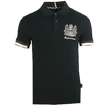 Aquascutum Aldis Crest Logo Czarna koszulka polo