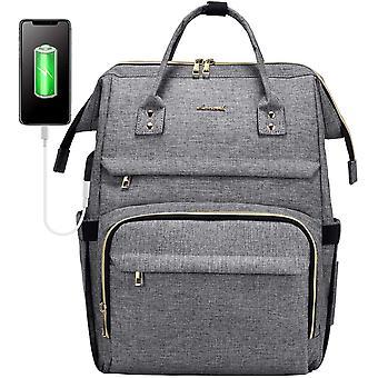 HanFei Laptop Rucksack Damen 15,6 Zoll, wasserdichte Business Schule Ruckscke mit USB Ladeanschluss,