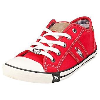 Mustang Lace Up Low Top Womens Casual Trainers in Red