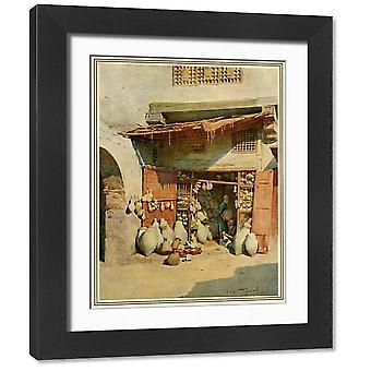 Egyptian Pottery Shop. Framed Photo. A pottery shop in an Egyptian village Date: 1912.