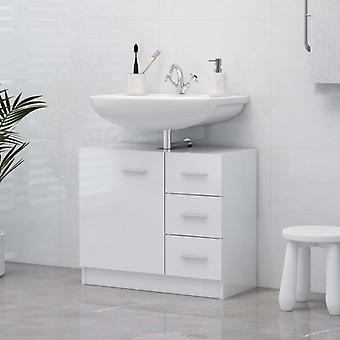 vidaXL Wash basin cabinet high gloss white 63x30x54 cm chipboard