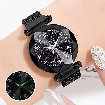 Women's Watches Bracelet, Quartz Stainless Steel, Illuminate Magnet Watch,