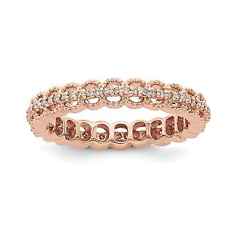 3.5mm 925 Sterling Silver Stackable Expressions Pink plated Carved With Dia. Ring Jewelry Gifts for Women - Ring Size: 5