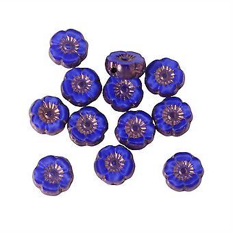 Czech Glass Beads, Hibiscus Flower 9mm, Royal Blue Silk, Bronze Finish, 1 Strand, by Raven's Journey