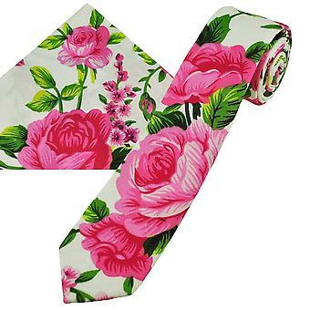 Nyakkendők Planet Fehér, Rózsaszín & Amp; Zöld Rózsák Mintás Pamut Fiúk Tie & Pocket Square Zsebkendő Set