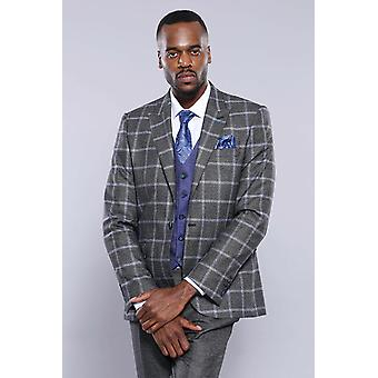 Grey blue checked suit