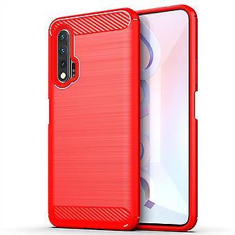 Tpu carbon fibre case for huawei nova 6se red mfkj-347