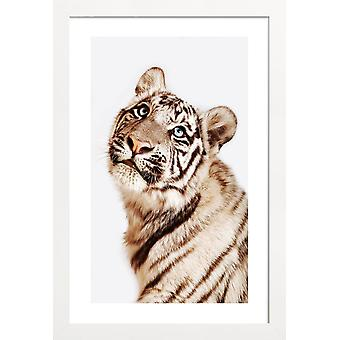 JUNIQE Print - King in the Making - Tiger Poster in Cream White & Yellow